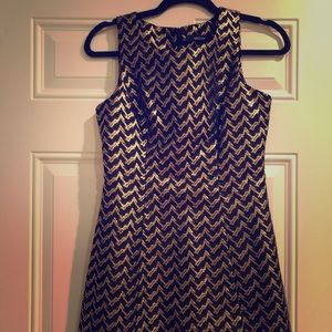 Black and gold cocktail dress chevron pattern